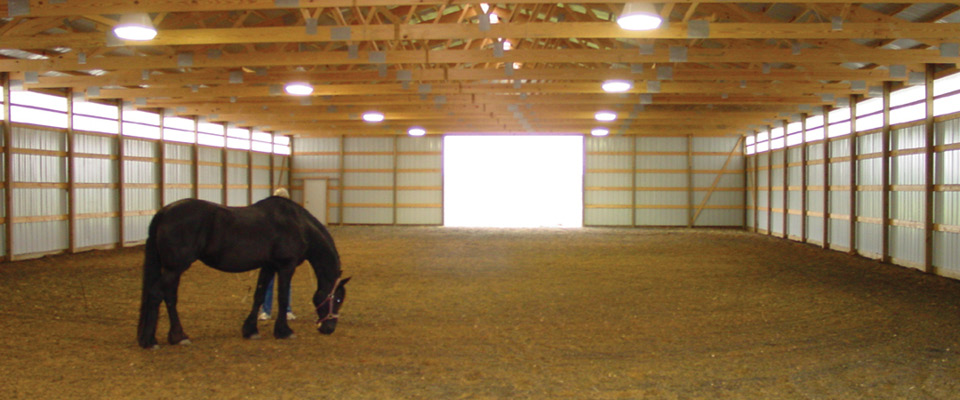 Inside Horse Barn horse barns & arena — cleary building corp.
