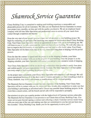 Cleary Shamrock Service Guarantee