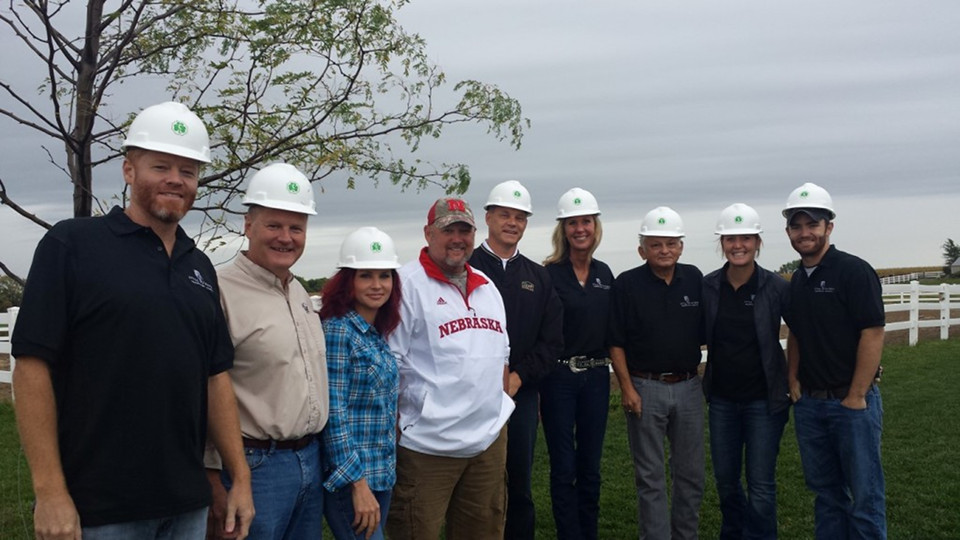 Pictured above, Dan Whitney – also known as Larry the Cable Guy (fourth from left – attends The Morning Star Riding Center Project ground breaking ceremony with supporters of the project and a Cleary Building Corp. representative.