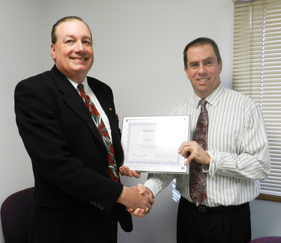 Pictured above, Cleary Building Corp. President Sean Cleary (left) is presented the Verona Chamber of Commerce President's Award by Chamber President Nathan Strutz.