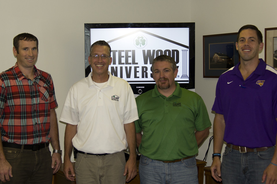 Pictured above are the 4 Cleary employees who recently received certification at the company's Steel Wood University. Left to right: Patrick Anderson, Rapid City, SD; Jeremy Myerscough, Clinton, IL; Ed Boysen, Clarinda, IA; and Joey Loftsgard, Waverly, IA.