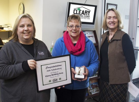 Julie Schulenberg Recognized For 25 Years With Cleary Building Corp.
